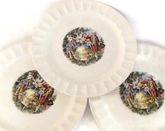 Vintage China Dinner Plates National Brotherhood Set of 3 Colonial America National Brotherhood Operative Potters Cronin China Co Ohio