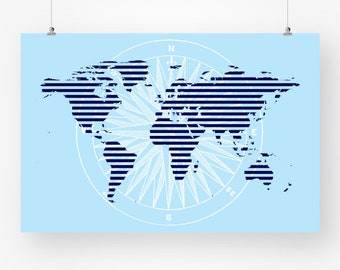 Large world map countries print printable distressed world map large world map poster navy sky blue printable map of the world map boys room wall gumiabroncs Images
