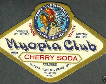 1920s Myopia Club Indian Headress Islington MA Cherry Soda Label