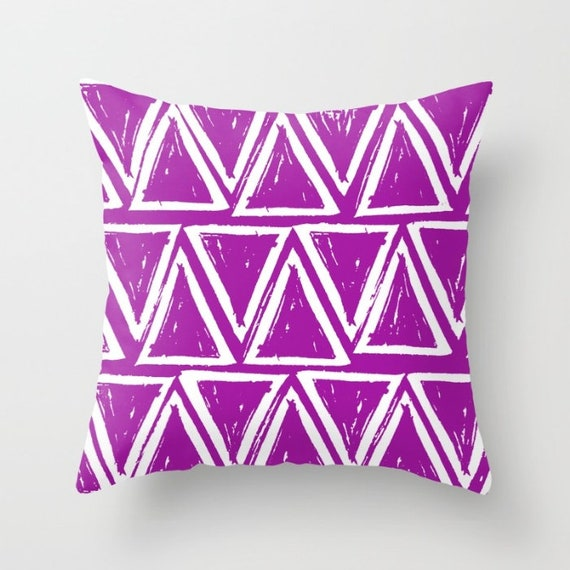OUTDOOR Throw Pillow . Purple Outdoor Pillow . Purple patio cushion . Modern Geometric Pillow Triangle . 16 18 20 inch  Violet Lumbar Pillow