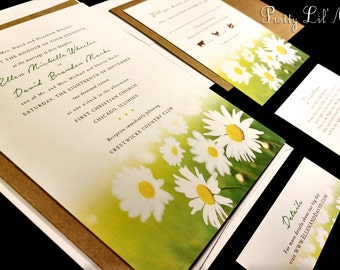 Watercolor Sunflower Daisy Wedding Invitation Field Custom Unique Paint Outdoor Floral Sun Flower Spring Summer Fall Kraft Water Color