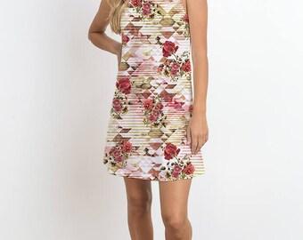 Prism Flower Print, Sleeveless Dress, Romantic Dress, Casual Dress, Mini Dress