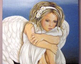 painting, girl, my angel, Angel, portrait, child, acrylic on canvas