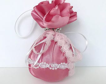 Pink fabric and lace ornament. Pink Christmas ornament.