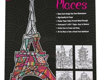 Mosaic Places Adult Coloring Book 8x10