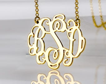 1 Inch Large Monogram necklace in 18K Gold plated over Sterling Silver 0.925