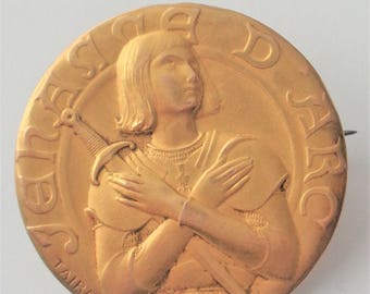 Rare Vintage Brooch St. Joan of Arc