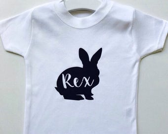 Cute bunny monochrome personalised name baby and toddler T-shirts gorgeous alternative gift idea custom made kids top