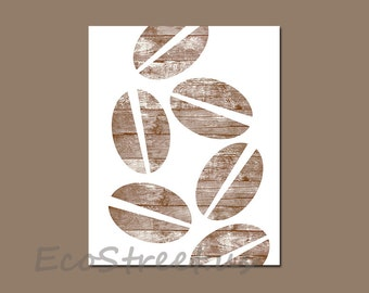 INSTANT DOWNLOAD, Coffee Kitchen Decor, Love Coffee Decor, Brown Wood Kitchen Art, Beachy Decor, Coffee Beans, 8x10 Printable Art, Drift