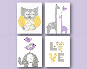Purple yellow and gray Nursery Art baby girl nursery decor kids art love Owl giraffe nursery wall art elephant nursery Set of 4 prints