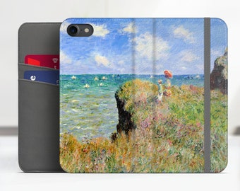 """Monet """"Cliff Walk at Pourville"""" iPhone 7 folio case Samsung Galaxy S8 Plus folio case iPhone 8 folio Phone cover. WC-CMO-05"""