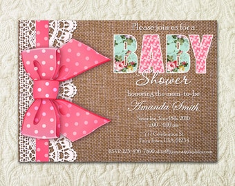 Girl Baby Shower Invitation, Pink Baby Shower Invitation, Girls Baby Shower, It's A Girl, Girl Shower Invite, Burlap Baby Shower Invitation