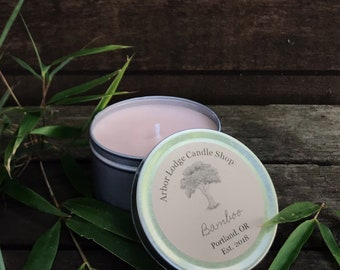 Bamboo Scented Soy Travel Candle | 4 oz or 8 oz tin | Wedding | Favor | Gift | Spa | Party | Home | Decor