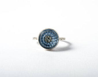 Light Blue Tobiko Silver Ring-button ring made to order
