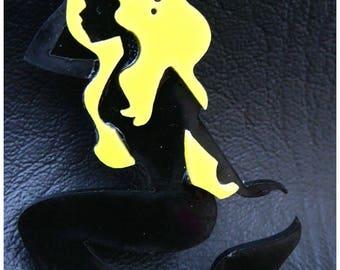 Cabochon Mermaid pin up yellow x 1