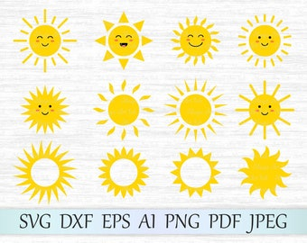 Sun svg, Sun clipart, Cute sun svg file, Sun face svg, Sun vector, Sun cricut, Sun cut file, Sun silhouette, Sun clip art, Monogram sun svg