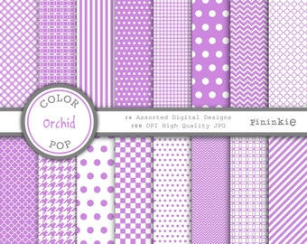 Purple Digital Paper, Radiant Orchid, Instant Download, Commercial Use, chevron, polka dot, gingham, quatrefoil, stripe, lilac
