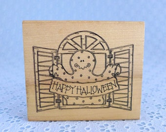 Happy Halloween Rubber Stamp Ghost In Window Imaginations Large Vintage Wood