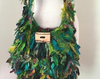 recycled silk bag, green silk ribbon bag, boho shoulder bag, crocheted silk bag