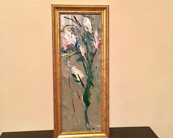 Wild Flower Painting- 10 x 4 - Framed- Painting - Original Painting- 10 x 4 approx. inch - including Frame - Fine Art