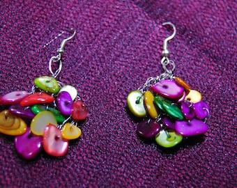 Earrings multicolored Pearl crochet.