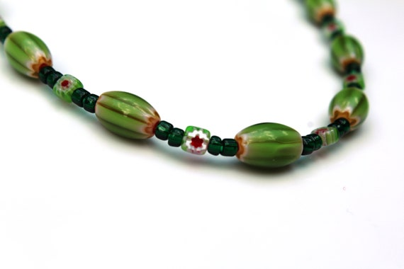 Millefiori Glass Beaded Necklace, Green and Red Necklace, Watermelon