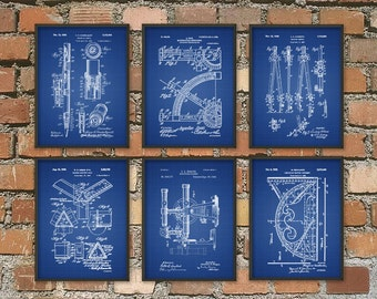 Architect Tools Patent Prints Set of 6 - Technical Drawing Patents - Architecture Student Gift - Mathematical Instruments Poster Set Of Six