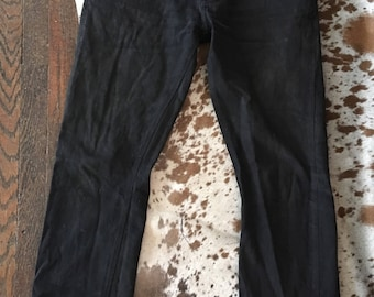 Used Eat Dust Selvage Denim Smokey Black Faded and Broken in 32