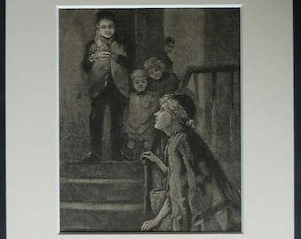 1800's antique print, mother and son, mother and child, mother and daughter, mother's day gift, homecoming mum, old vintage family art print