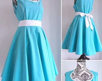 Swing dress - pinup dress aqua blue and white.  sweetheart neckline- sizes XS to 5XL