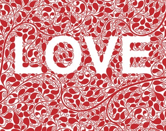 LOVE Art Print, Red Illustration Typography Art Valentine Romantic Wall Art Wall Decor Lettering Typography Print Typography Wall Art