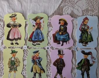 Vintage EAS Germany Die Cut Paper Scraps Folk Costume Children  EAS 3183B