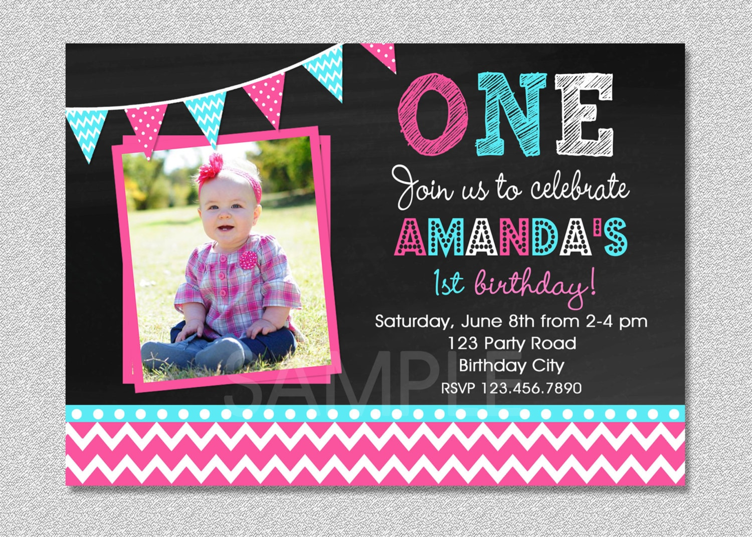 Girls 1st Birthday Invitation Chevron 1st Birthday Party