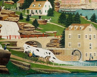Harbor Scene with Castle, 19th Century American Folk Art Painting Print