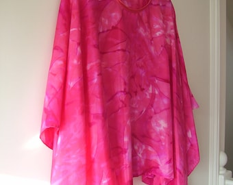 Pink and Fuchsia Silk Poncho Wrap Cape Silk Shawl Women's Clothing