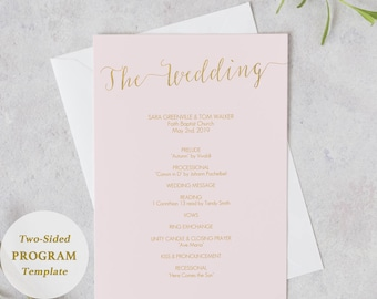 Blush Pink and Gold Program Printable - Instant Download - Double Sided Wedding Ceremony program - Editable PDF - 5x7 inches - #GD1205