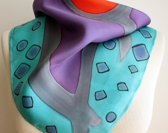 Hand painted Silk Mini- Scarflette - Hand painted Silk scarf - Silk mini-scarf - Woman scarf  21.65x21.65