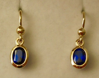 Genuine SOLID 9K 9ct YELLOW GOLD September Birthstone Sapphire Dangle Drop Earrings