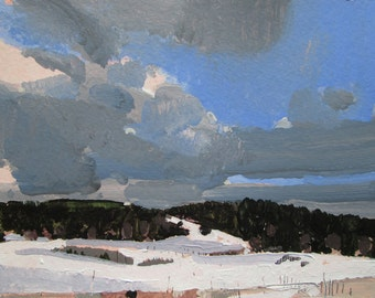 Coyote Hill, February 7, Original Winter Landscape Painting on Paper, Stooshinoff