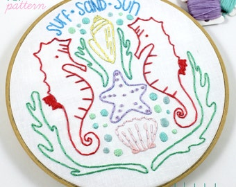 Summer Beach. Hand Embroidery Pattern. Digital Pattern. PDF Pattern. Ocean. Sea. Beach Lover. Beach House. Seahorse. Embroidery Designs