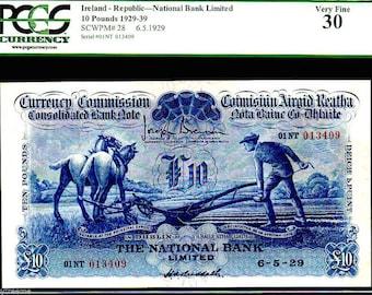 """IRELAND P28 10 pound 1939 """"ploughman"""" pgcs 30! finest of only 2 kn! dublin rare"""