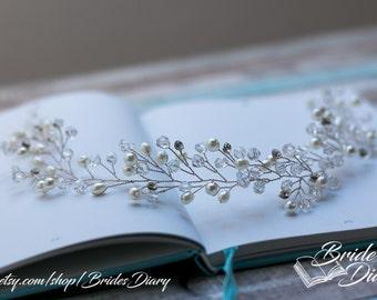 Pearls and Rhinestones Bridal Wreath, bohemian headband, silver wedding hair vine