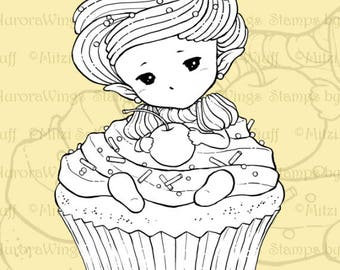 PNG Digital Stamp - Whimsical Cupcake Sprite - Sweet Baby in Frosting with Cherry - Fantasy Line Art for Cards & Crafts by Mitzi Sato-Wiuff