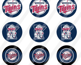 Minnesota Twins digital collage  for bottle cap 1 inch round  sheet size 4x6 - INSTANT DOWNLOAD