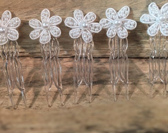 Pearl Flower Hair Combs