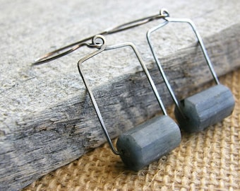 Blue Kyanite Metalwork Sterling Silver Earrings