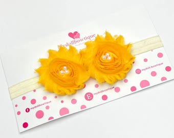 Headband, flower headband, yellow flowers