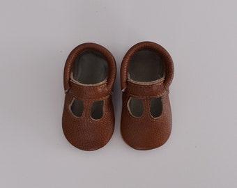 t straps / baby moccasins mocks / soft soled shoes /  dark brown