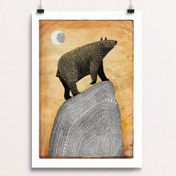 Bear and Moon - Signed Print