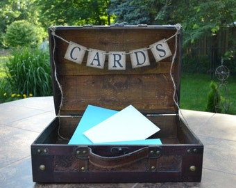 CARDS banner, wedding card box